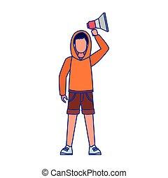trui, man, vasthouden, megafoon, op, spotprent, gebruik, jonge