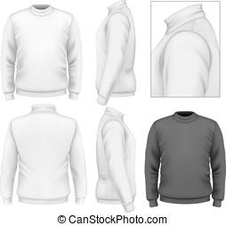trui, mannen, ontwerp, mal