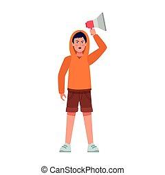 trui, megafoon, man, vasthouden, kleurrijke, ontwerp, op, spotprent, gebruik, jonge
