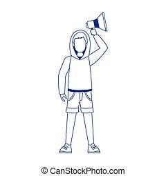 trui, plat, megafoon, man, vasthouden, ontwerp, op, spotprent, gebruik, jonge
