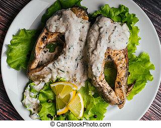 truite, fish, rouges, crème, citron, sauce, blanc, salade, frit, plaque.