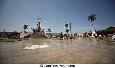 Trujillo, Peru - main square with old colonial buildings and...