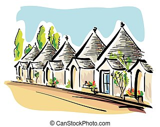 Trulli of Alberobello - illustration of the apulian typical...