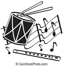 trumma, flöjt, konst, klippa