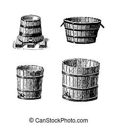 trumma, sätta, gravyrer, vin