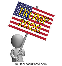 Trump 2020 Republican Choice For President Nomination. United States Voting For White House Reelection - 2d Illustration