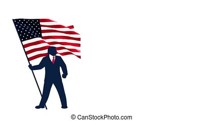 Trump Bearing USA Flag - Political campaign mascot depicting...