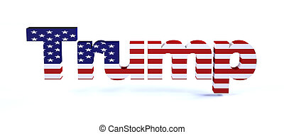 Trump sign with american flag isolated on white 3d illustration