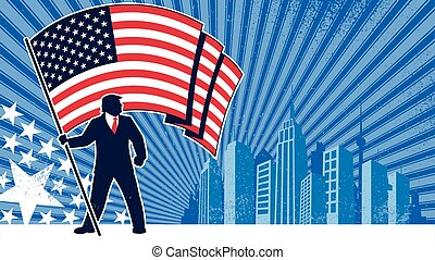 Political campaign background or poster, depicting the silhouette of US president Donald J Trump, bearing the flag of the United States of America over abstract background.