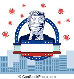 trump wearing face mask by covid 19 in lace vector illustration design