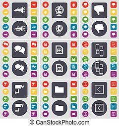 Trumped, Globe, Dislike, Chat, File, Connection, CCTV, Folder, Arrow left icon symbol. A large set of flat, colored buttons for your design. Vector