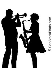 Trumpet and sax - Music man whit trumpet on white background...