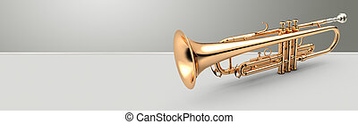 Trumpet banner, 3D illustration