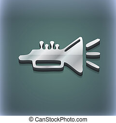 trumpet, brass instrument icon symbol. 3D style. Trendy,...
