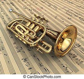 trumpet - 3d render of a trumpet
