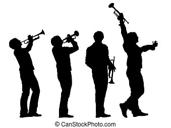 Trumpet - Music man whit trumpet  on white background