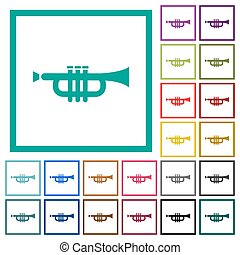 Trumpet flat color icons with quadrant frames on white...