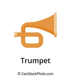 Trumpet flat vector illustration. Single object. Icon for ...