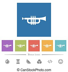 Trumpet flat white icons in square backgrounds