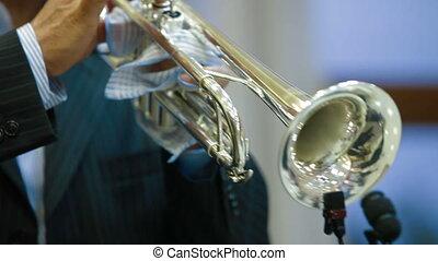 Trumpet - trumpeter musician, Closeup