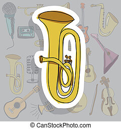 trumpet icon - trumpet icon over gray background vector...