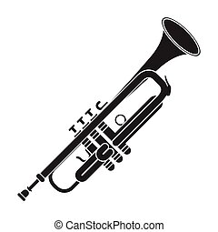 Trumpet icon in black style isolated on white background. ...