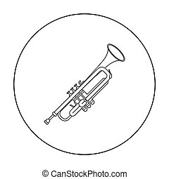 Trumpet icon in outline style isolated on white background. Musical instruments symbol stock vector illustration
