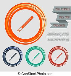 Trumpet icon on the red, blue, green, orange buttons for your website and design with space text. Vector