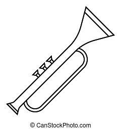 Trumpet icon, outline style