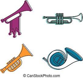 Trumpet icon set, color outline style