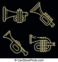 Trumpet icons set vector neon