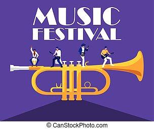 Trumpet instrument and musicians vector design