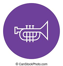 Trumpet line icon. - Trumpet thick line icon with pointed...