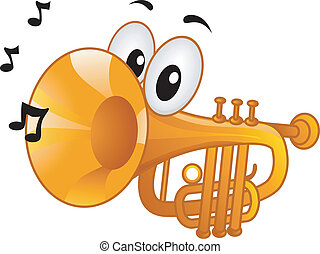 Trumpet Mascot - Mascot Illustration Featuring Musical Notes...
