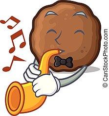 Trumpet meatball mascot cartoon style