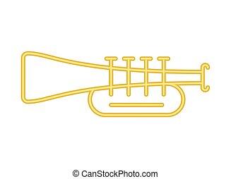 trumpet music instrument neon lights vector illustration ...