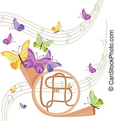 Trumpet musical instrument with butterflies background. Summer positive background