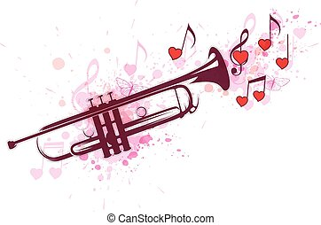 Trumpet, notes and red hearts