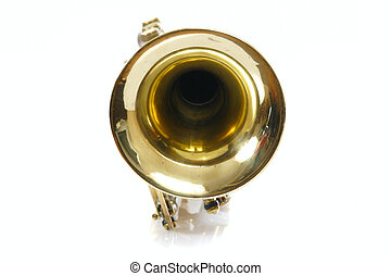 Trumpet - Old trumpet photo on the white background