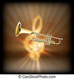 trumpet on a blurred background treble clef