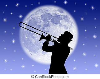 Trumpet player - A trumpet player in the night against the...