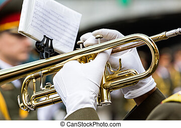 Trumpet player in military band