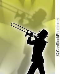 Trumpet player in the lig - Trumpet player silhouette in the...