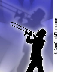 Trumpet player in the lights - Trumpet player silhouette in...