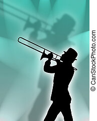 Trumpet player in the lights