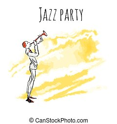 Trumpet player on a watrecolor background. Vector jazz party poster template with copy space.