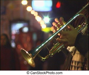 Trumpet player. - Musician are playing on street.