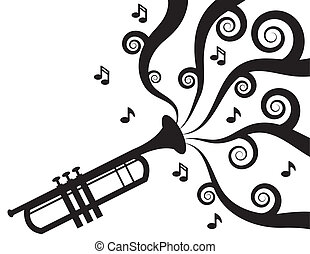 Trumpet playing with music flowing in Silhouette