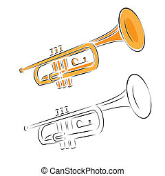 trumpet set isolated on white background