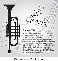 trumpet - abstract trumpet on special music background